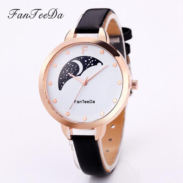 f0d91e459fd FanTeeDa Luxo Marca Mulheres Relógios Moda Feminina Lua Caixa Fina Charme  Mulheres Relógios de Quartzo com