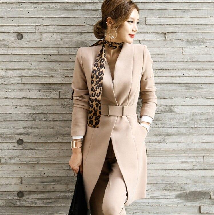 Bureau Dames Clips Costumes Fixation kaki Noir De Costume Pièces Pantalon Kaki Et Long Pour Noir Avec Femmes Élégant Deux Les Blazer r4q4EPv