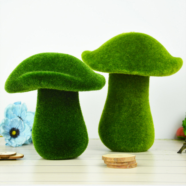 decoration moss mushroom artificial green tufting table display decor flower fake green grass for christmas and