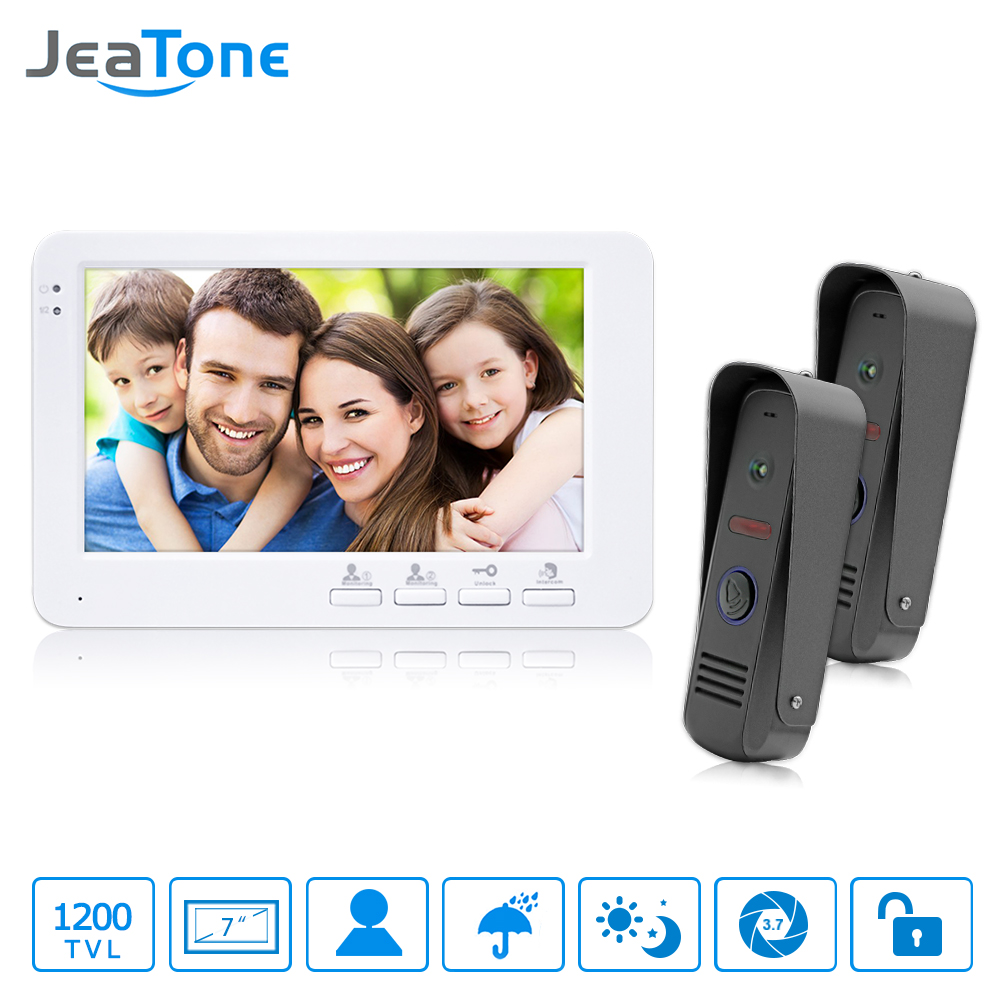 JeaTone Wired Video Doorbell HD Home Ring And Camera Night Vision Hands-free Indoor Monitor Unlocking Video Door Phone