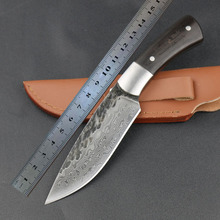 High-carbon steel fixed blade hunting knife handmade forged damascus Camping Tactical Survival Knife Ebony handle rescue tool