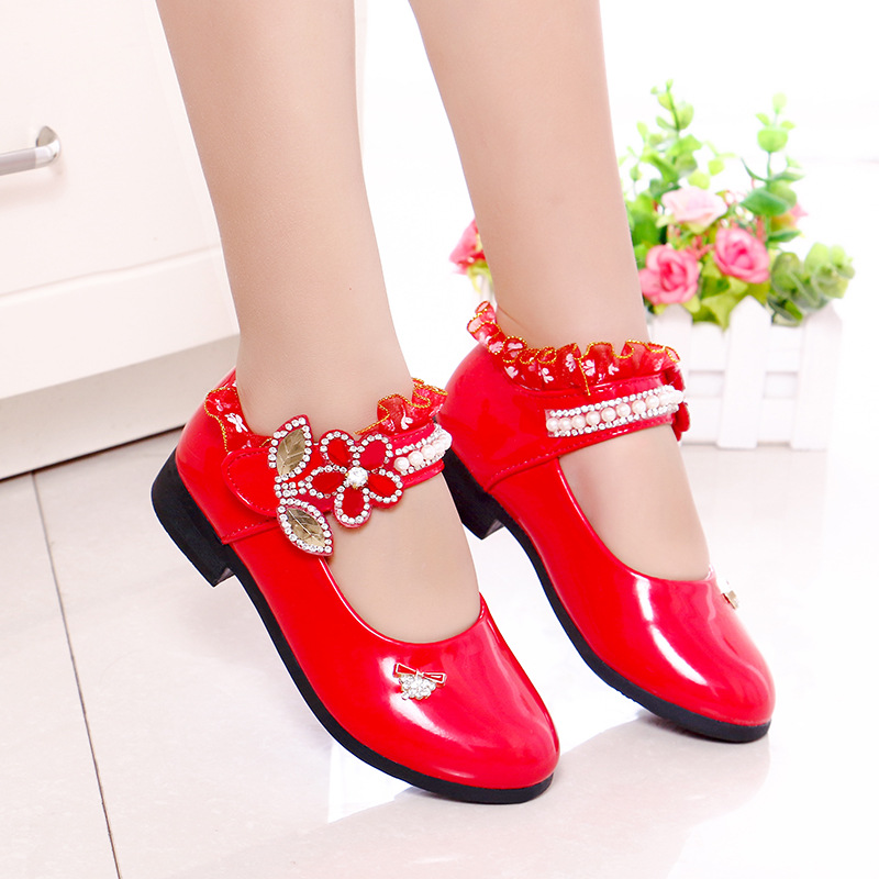 2018 Fashion Lace Children Patent Shoes for Party Flower Girl Wedding Kids Shoes Girl Red Pink Fuchsia