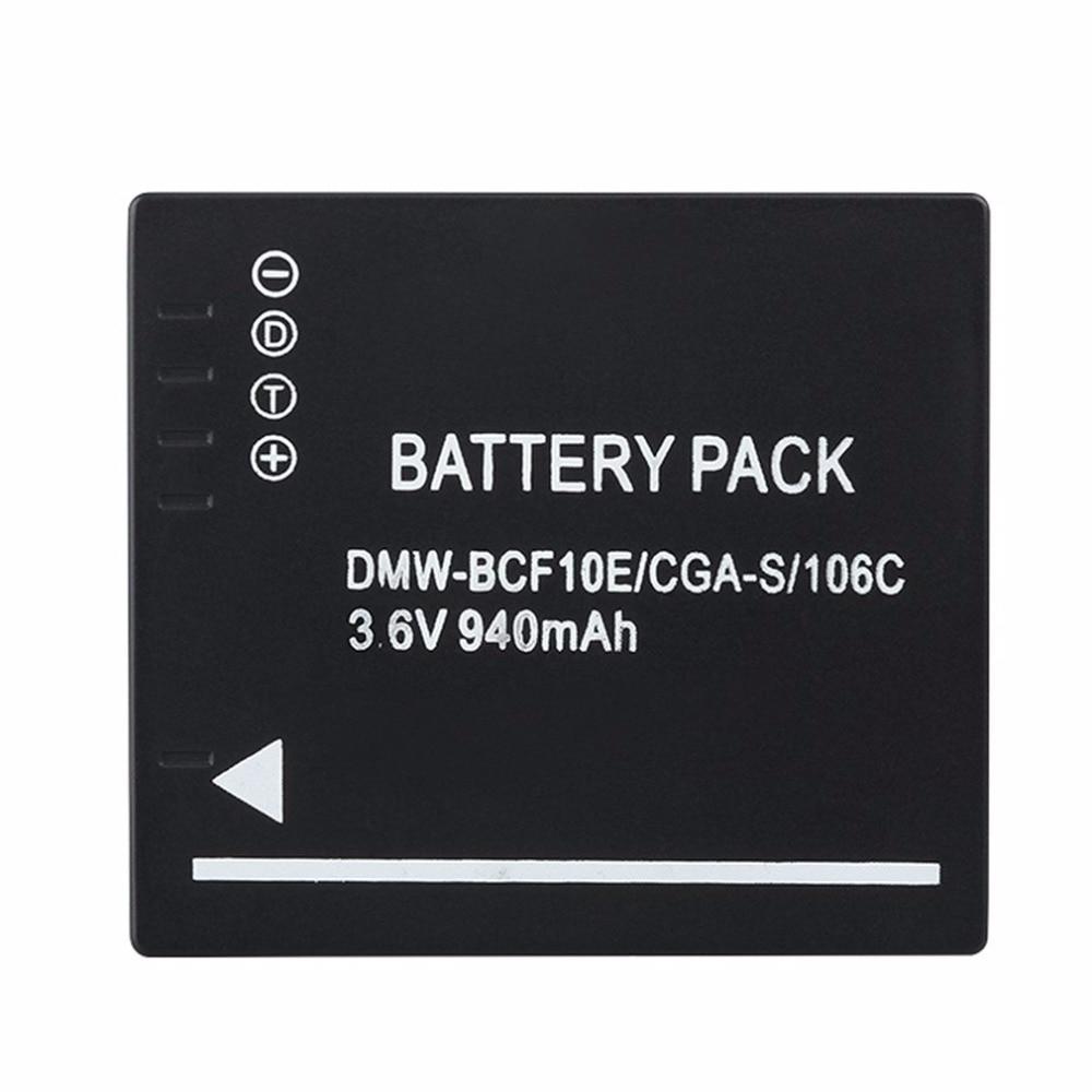 940MAH Battery for Panasonic Lumix Camera CGA-S/106C CGA-S/106D /106B DE-A59B DE-A60B DMW-BCF10E DMW BCF10E DMWBCF10E DMC-F2