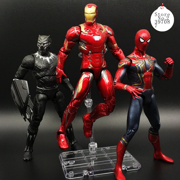 Avengers 3 Infinity War Black Widow Vision Falcon Spiderman Hulk Black Panther Iron Man Action Figure Toys For Children 16 18CM