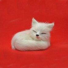 Simulation Fox Brown Or White  Fox Toy Polyethylene & Furs Sleeping Fox Model Home Decoration Birthday Gift