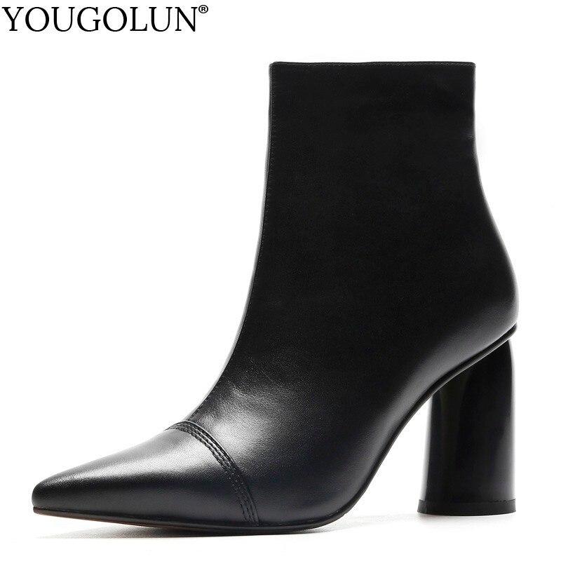 جلد البقر عالية الكعب حذاء من الجلد النساء الخريف سيدة سستة حقيقية أحذية من الجلد A229 امرأة الأسود البيج وأشار اصبع القدم الكعوب الأحذية-في أحذية الكاحل من أحذية على  مجموعة 1