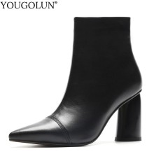 Cow Leather High Heel Ankle Boots Women Autumn Lady Zipper Genuine Leather Shoes A229 Woman Black Beige Pointed Toe Heels Boots