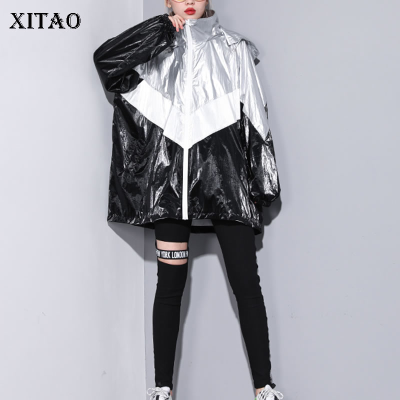 [XITAO] Women 2019 Spring New Fashion Hooded Collar Full Sleeve Loose Coat Female Patchwork Print Letter Long Trench  DLL3397