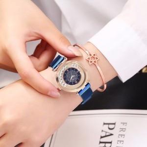 Image 3 - ホットファッション女性マグネットバックルフルダイヤモンドの腕時計高級レディースステンレス鋼クォーツラインストーン腕時計時計レロジオ Feminino