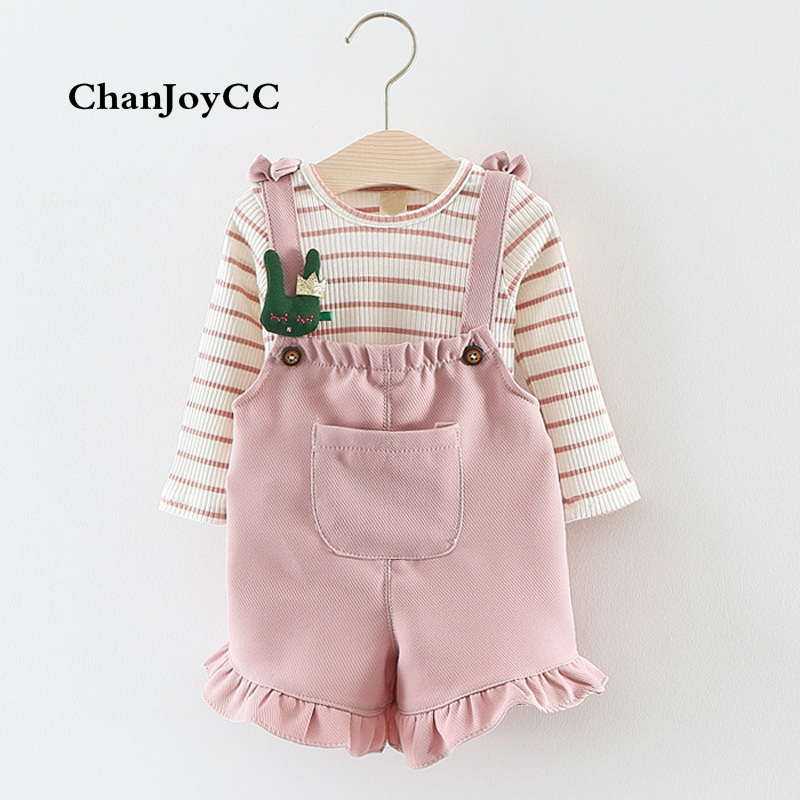Spring Autumn Baby Set girl new fashion comfortable cotton coat + Belt pants two-piece baby suit