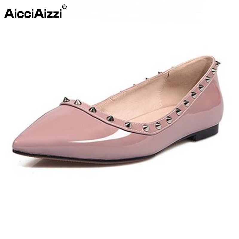 AicciAizzi Ladies Real Leather Flat Shoes Women Pointed Toe Rivets Solid Color Shoes  Women Fashion Dating Footwears Size 34-39 women real leather flats rivets pointed toe leisure classics ladies shoes comfortable fashion new design footwear size 34 39