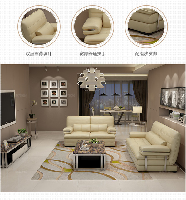 Living Room Sofa set furniture real genuine cow leather sofas couch puff asiento muebles de sala canape 1+2+3 seater sofa cama