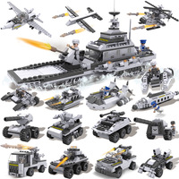 Military Series Airplane Carrier Tank Patrol Boat Model Sets 743 Pcs Building Blocks Kits Kid Education