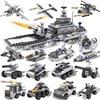Military Series Airplane Carrier Tank Patrol Boat Model Sets 743 Pcs Building Blocks Kits Kid Education