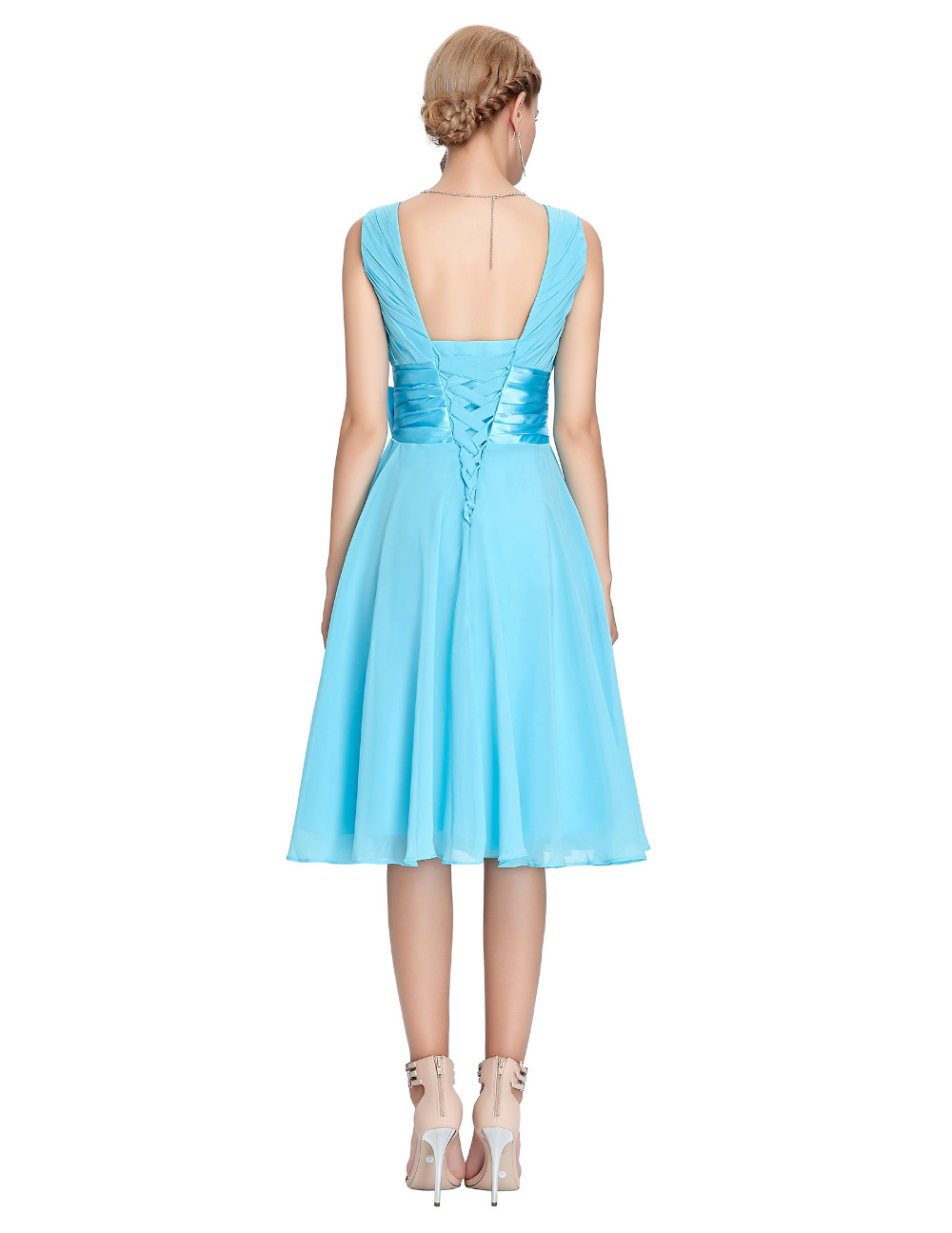 HTB1kKzNMVXXXXbQaXXXq6xXFXXXZKnee Length Short Chiffon Blue Dress