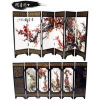 MINI Folding Screens 6 Joined Panels Decorative Painting Wood Byobu Plum Blossoms Be a Harbinger of Spring Herald Spring 3 Sizes