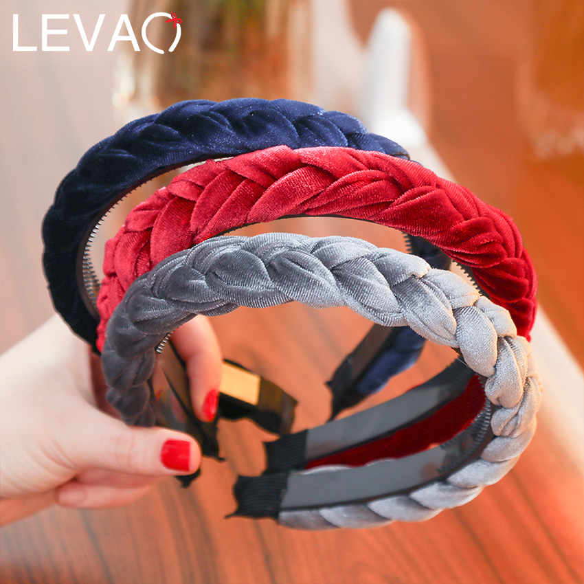 LEVAO Solid Color Velvet Braid Headband With Teeth Hair Accessories Korean Twists Hairband Women And Girls Head Wear