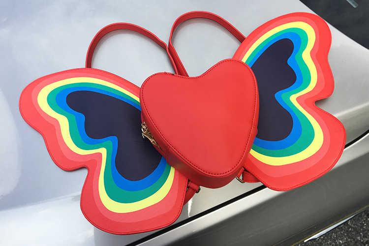 Nette Mode Regenbogen Schmetterling Flügel Herz Muster Design Pu Leder Mädchen Rucksack Schulter Tasche Casual Frauen der Schule Rucksack