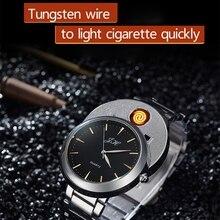 цена на Men watch Creative Flameless USB Lighter watches Men Quartz Wristwatches Tungsten Steel Watchband Cigarette Lighter clock JH329