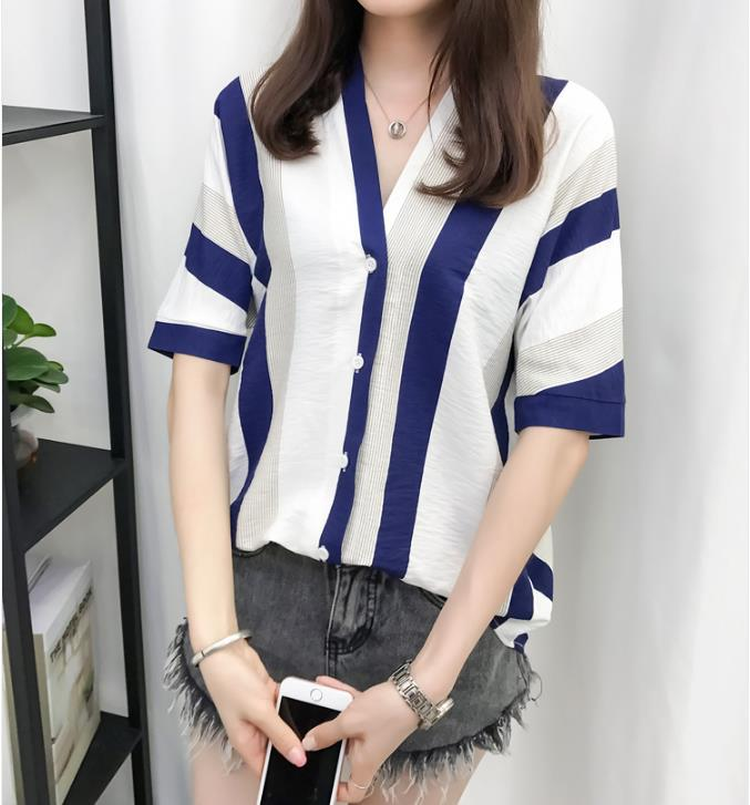 Mr nut Chiffon Cotton fashion Casual Button V Neck Striped ladies shirt in Blouses amp Shirts from Women 39 s Clothing