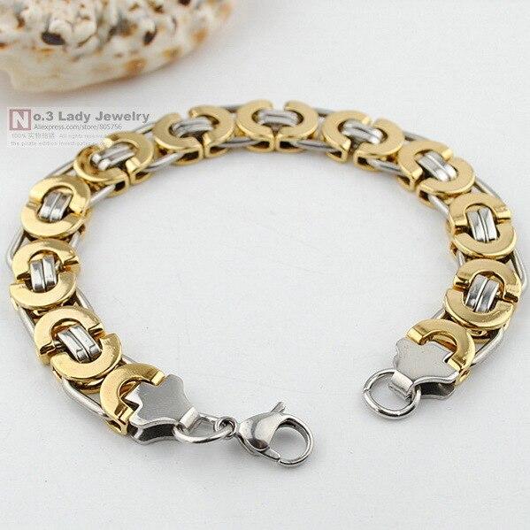 Hombres pulsera, plata y oro acero inoxidable plana cadena bizantina pulsera para el regalo navidad
