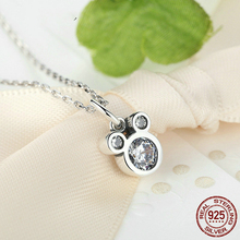 Hot Selling 925 Sterling Silver Cute Dazzling Mouse Cartoon Pendant Necklaces for Women Girl Authentic Fine Jewelry Gift CQN068