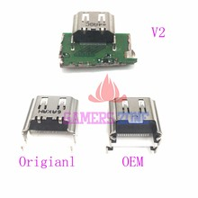 Conector de tomada hdmi original ou oem v2, conector de porta de hdmi para sony playstation 4 ps4 com 10 peças