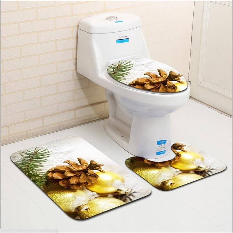 de natal tapete do banheiro anti deslizamento