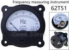 62T51-Hz CA 220V 380V 45-55Hz Panel negro medidor de frecuencia Dial analógico redondo