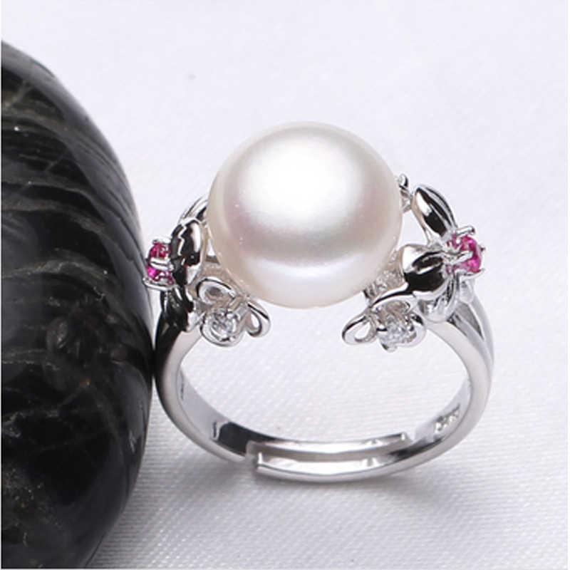 Ваттенс Pearl Ring для женщин, натуральный белый/розовый/фиолетовый пресноводного жемчуга ювелирные изделия регулируется кольцо, кольцо стерлингового серебра 925