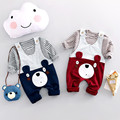 Spring Baby Girls Cotton Striped Print T-shirt + Cartoon Bear Overalls Pant Kids 2Pcs Suits Boys Clothing Sets