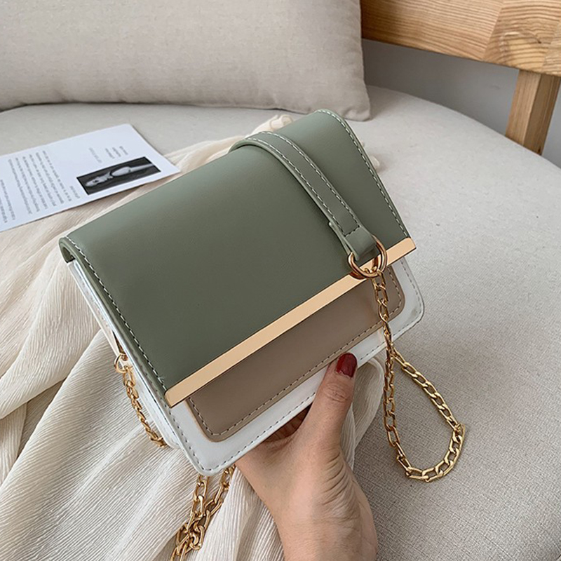 PU leather Contrast color Leather Crossbody Bag For Women 2019 Travel Handbag Fashion Simple Shoulder Messenger Bag Ladies handbag