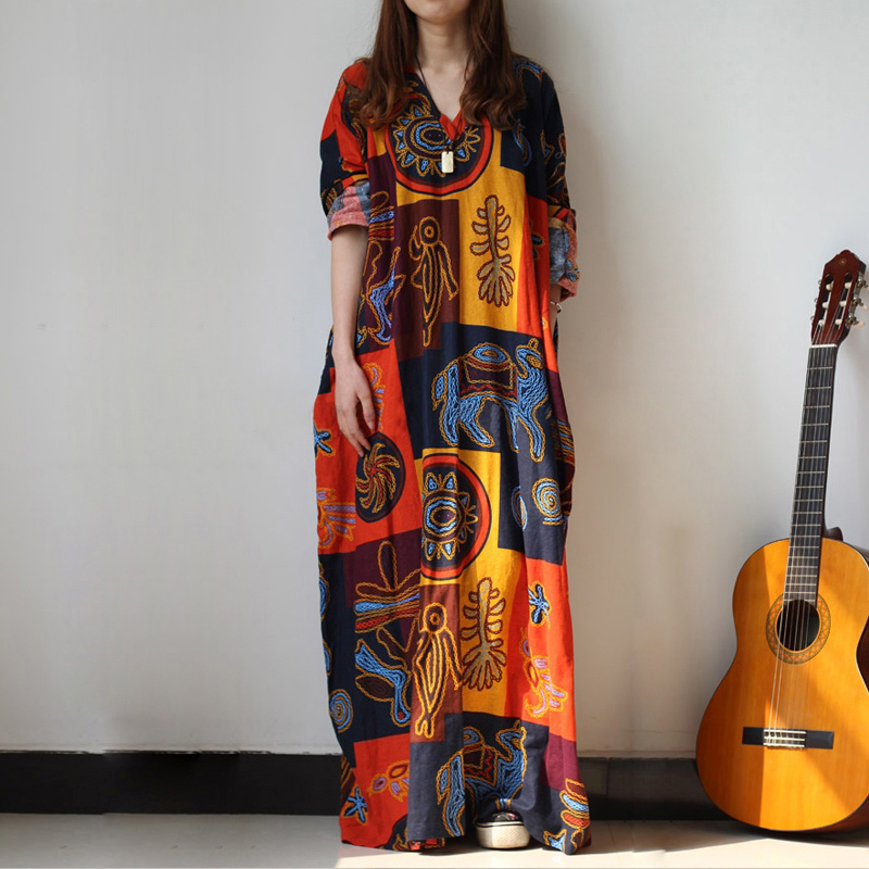 4XL Plus Size Vintage Tribal Totem Print Women Casual Long Sleeve Loose Baggy Kaftan Fashion Oversized Long Maxi Cotton Dress