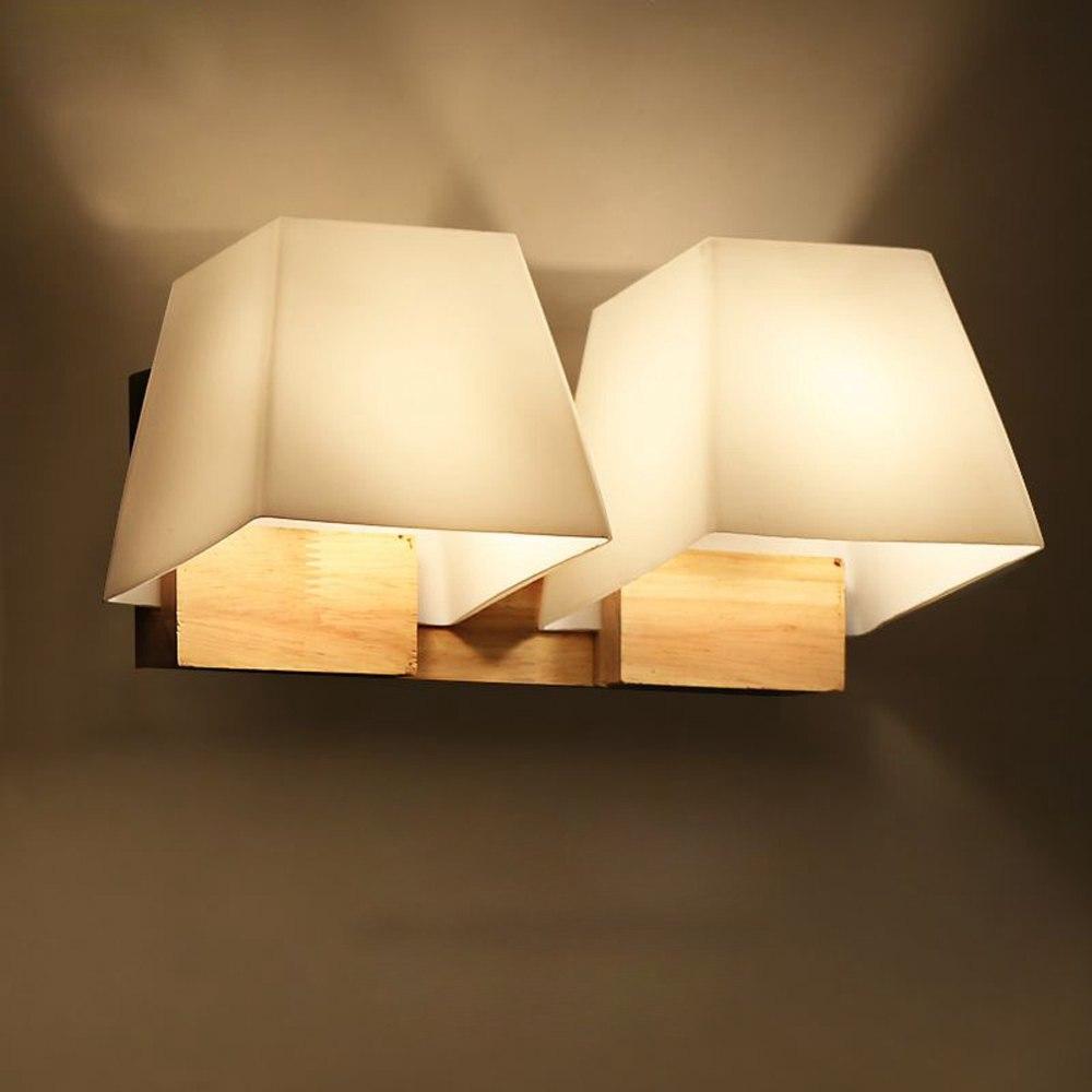 Illuminazione Bagno A Parete us $67.2 |moderno in vetro in legno trapezoidale cubo camera da letto  comodini lampada da parete del bagno specchio anteriore del corridoio  balcone