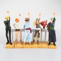 DRAMATIC SHOWCASE One Piece Anime 1st Season Luffy Zoro Nami Usopp Sanji Chopper Figure Action Collectible Model Toy 6pcs/set