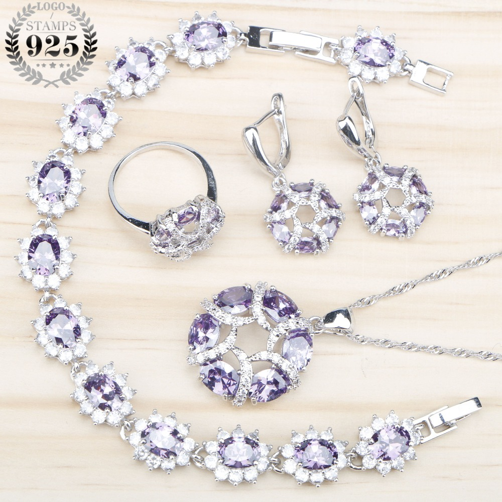 Purple Zircon Costume Silver 925 Jewelry Sets Earrings With White Stones Rings Pendant&Necklace Bracelets Set Jewelery Gift Box