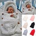 Lindo Recién Nacido Bebé Swaddle Abrigo Del Bebé Manta Caliente saco de Dormir de Algodón de Punto de Ganchillo