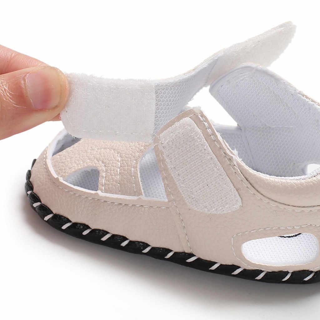Zapatos de color sólido para bebés y bebés, zapatos de moda para niños, zapatos con gancho y hebilla de lazo, zapatos individuales de material PU 2019 verano