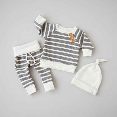 3Pcs Newborn Baby baby girl Long Sleeve Top T shirt+Pants+Hat Striped Outfits Clothes