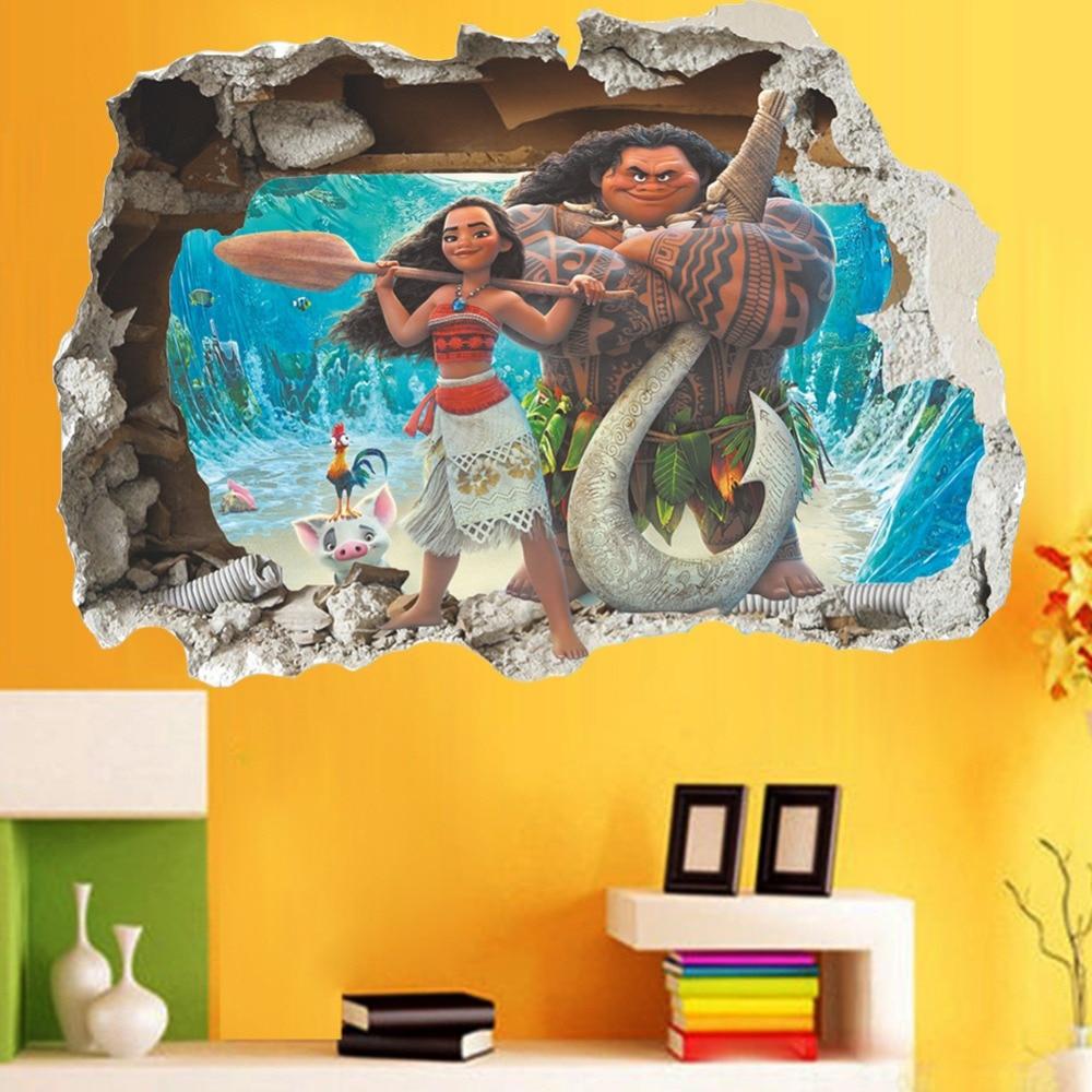 & Cartoon Window Moana Maui Ocean Animated Heroes Wall Stickers Kids ...