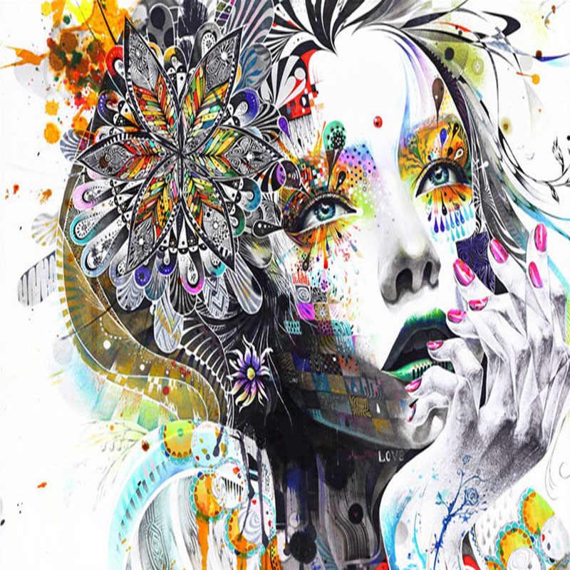 Пользовательские росписи обоев Цвет ручная роспись граффити Красота Книги по искусству Задний план фото обои Гостиная Спальня Домашний Декор