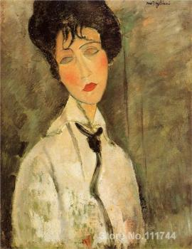 Painting portraits Portrait of a Woman in a Black Tie Amedeo Modigliani Women artist Hand painted High quality