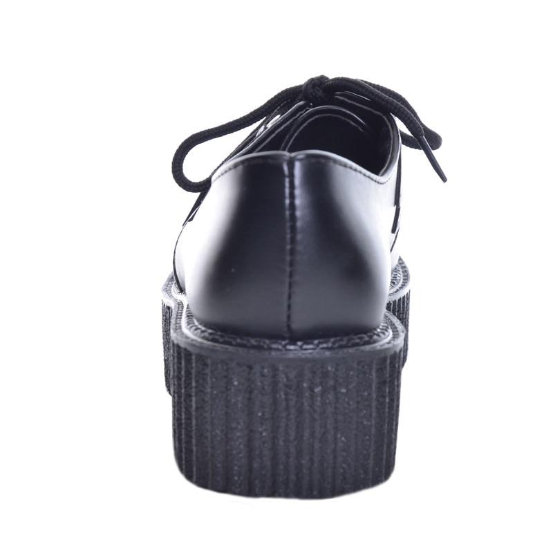 Taille Noir En Blanc 35 Chaussures up Femme Printemps white Plat 39 forme Dentelle Cuir 2018 Plate Femmes Grand Appartements Artificielle Creepers Hee Xwd367 Black pzTFUU