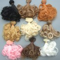 15cm curly 1/3 1/4 1/6 BJD Doll hair / DIY doll natrual color brown pink color heat resistant wigs hair wig for bjd doll