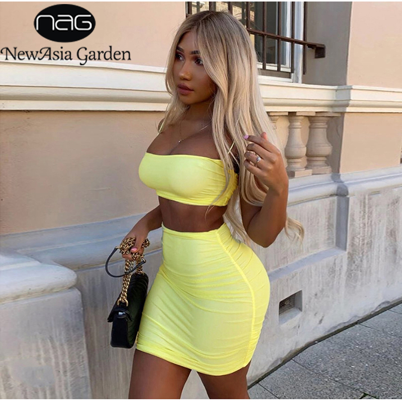 NewAsia Double Layers Mesh Two Piece Set Crop Top Mini Skirt Matching Sets Sexy Party Wear 2 Piece Set Women 2019 Club Outfits