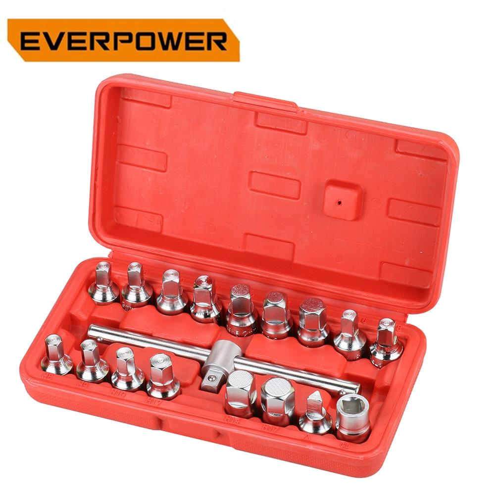 Everpower 18Pcs Sets Car Tools For Auto Repair Mechanics Box Socket Triangle Square Hexagon Oil Drain