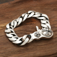S925 Silver Jewelry Wholesale Manufacturers With A Korean Personality Retro Spring Buckle Bracelet Hot Silver Light