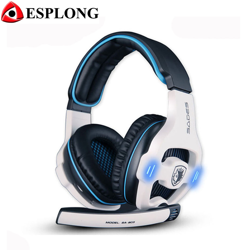Sades SA-903 USB Volume Control Gaming Headset 7.1 Surround Sound Channel Noise Cancelling PC Gamer Headphones with Microphone