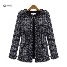 Semfri Plaid Winter Autumn Jacket Black and White Female Base Coat Women Suits Elegant Top 2019 Slim Streetwear Single Breasted недорого