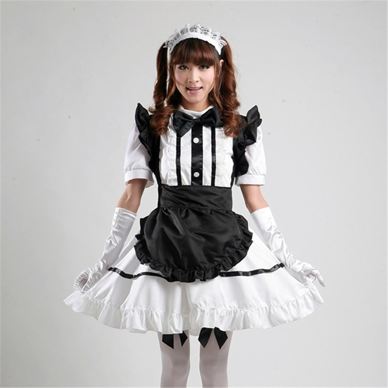 high quality Black Maid Costume Women Gothic Uniform Dress Outfit Cosplay Halloween Sweet French Maid Costumes Suit Game Uniform